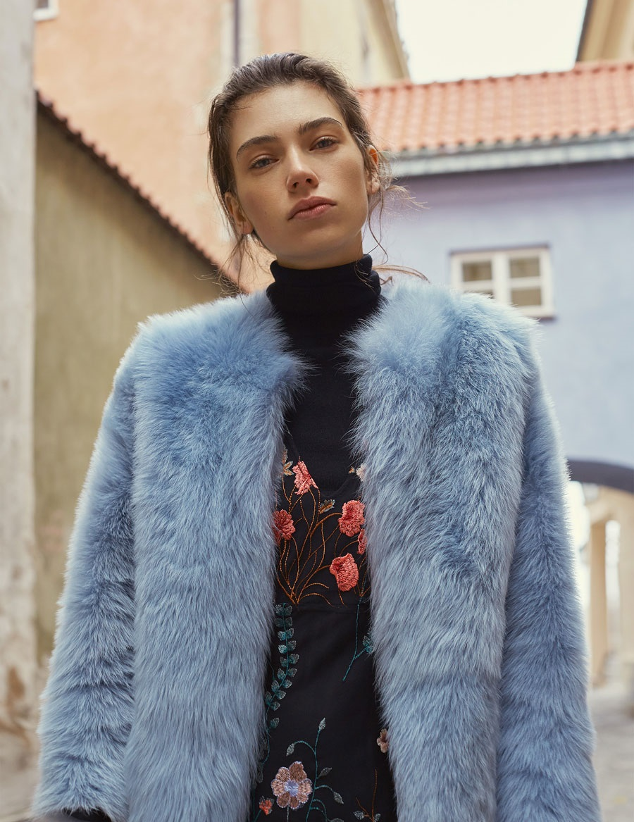 Uterque Floral embroidered multi-colored Autumn Winter dress along with blue fur coat