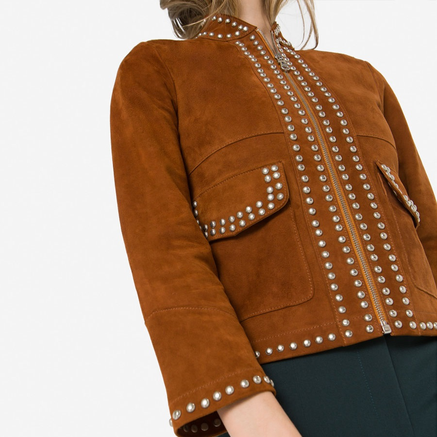 Uterque studded suede winter jacket in camel color