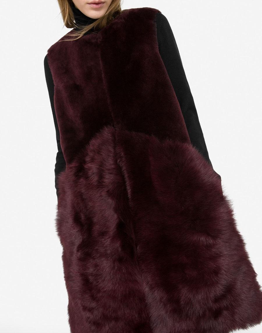 Uterque fur waistcoat in purple color