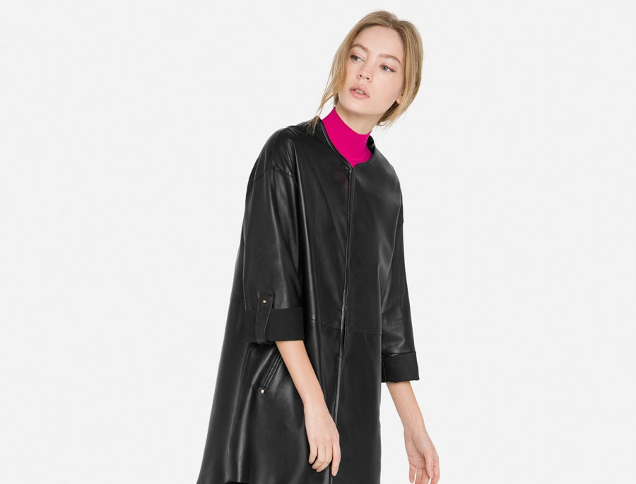 Uterque Black Nappa Over-Shirt in leather stuff