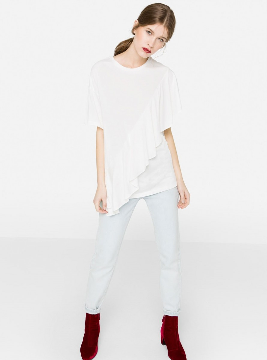 Cross frilled winter shirt by Uterque
