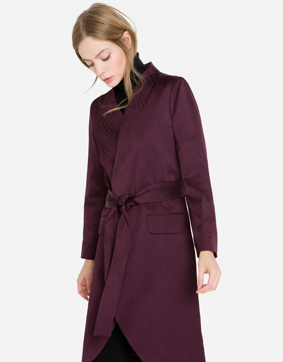 Uterque purple jacquard frock winter coat