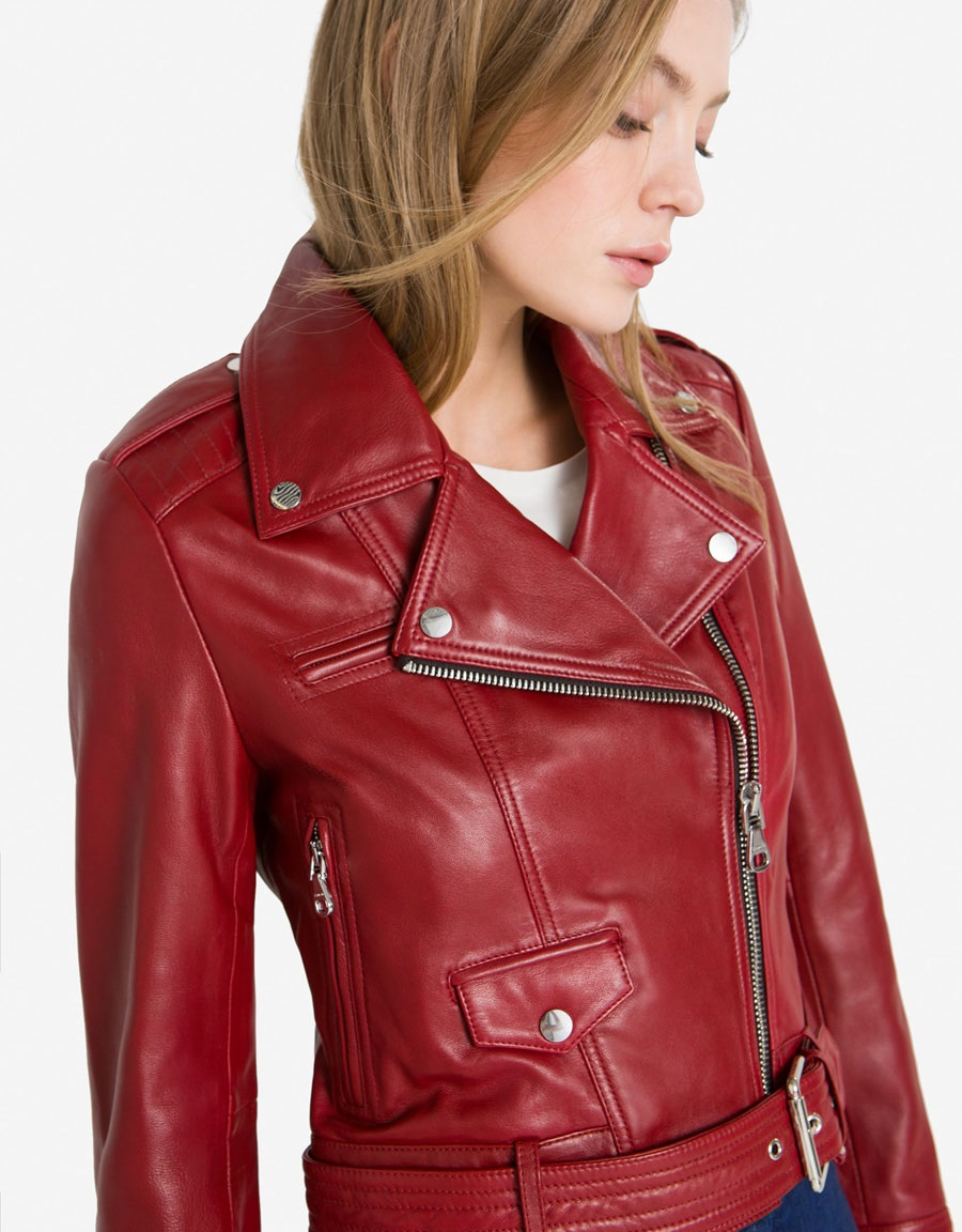 Uterque stylish red leather jacket for women