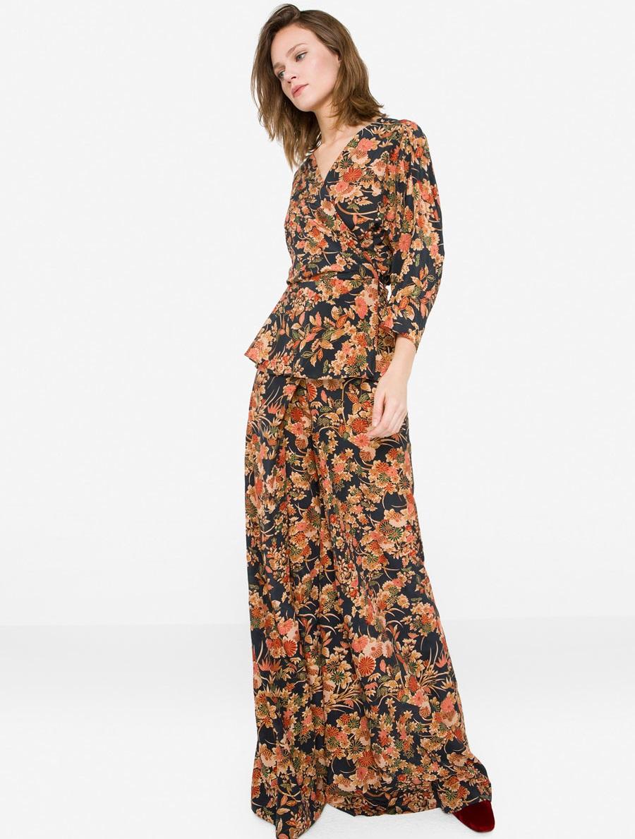 Uterque silk kimono shirt with Oriental print for winter