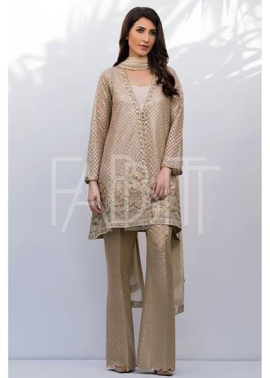 embroidered Organza suit with bell bottom