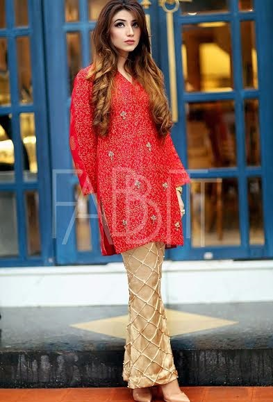 lovely red and skin embroidered bell bottom suit