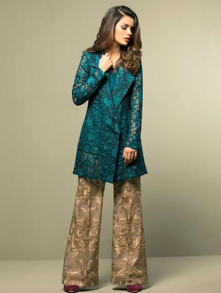 embroidered RTW suit in teal and bronze combination