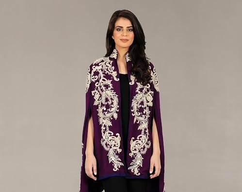 purple fully embroidered cape style shirt