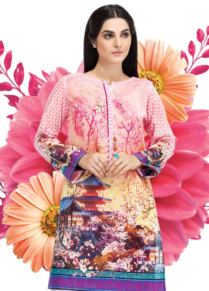 pink digital printed lawn shirt by Gul Ahmed