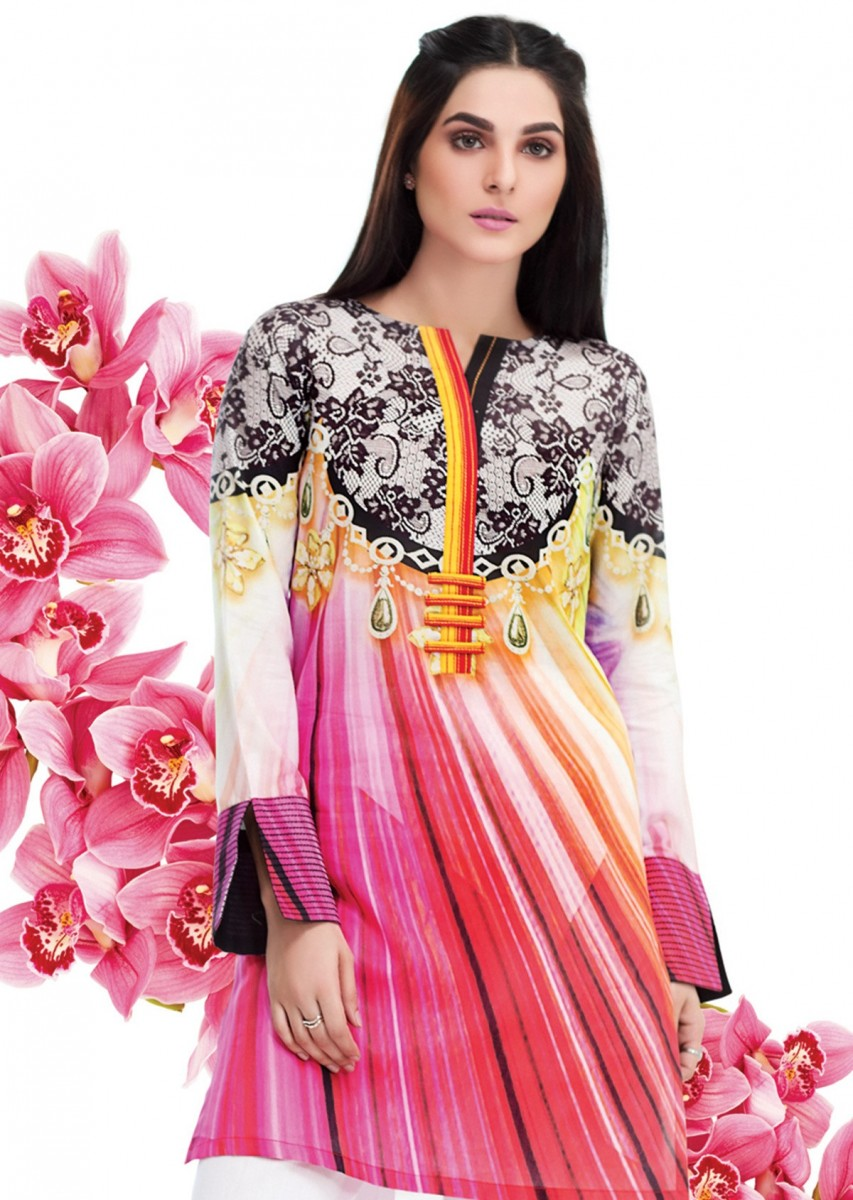 shocking pink lawn shirt by Gul Ahmed Lawn Collection