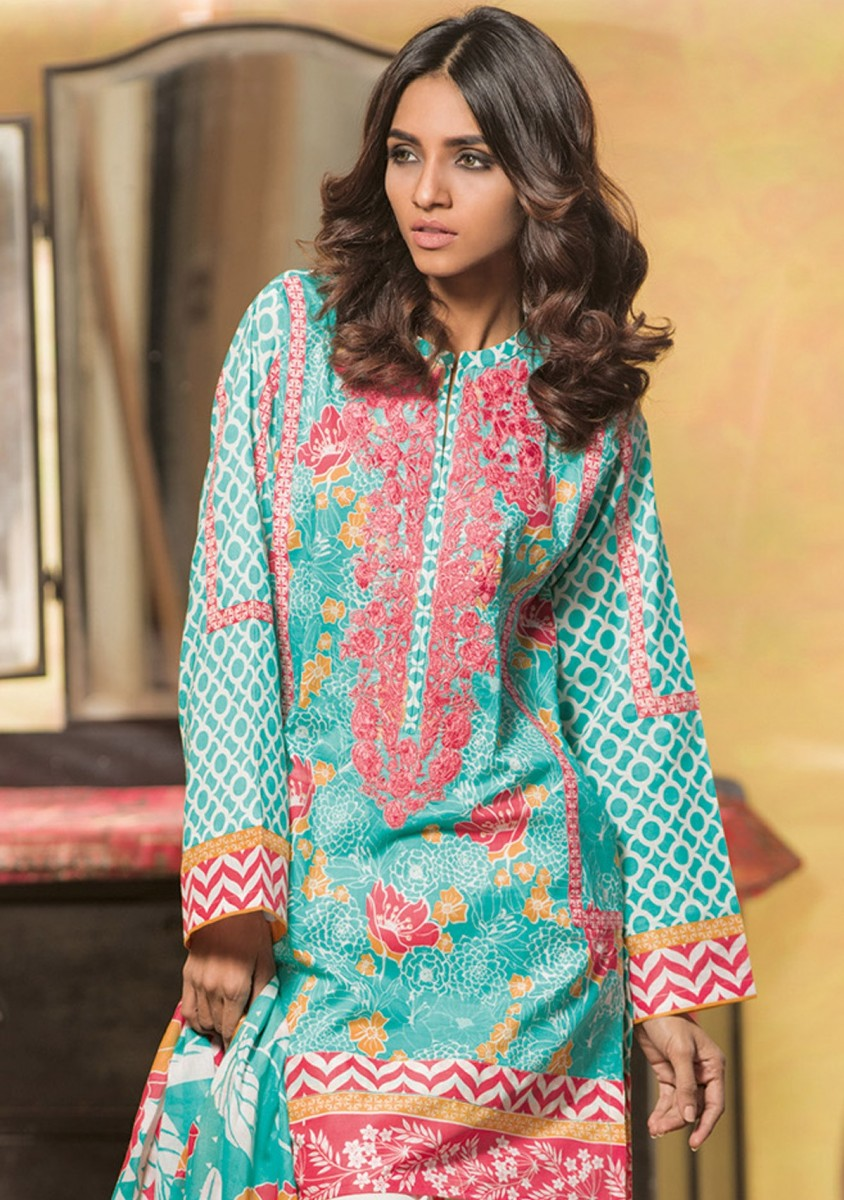 ferozi 2 piece lawn dress with pink embroidered neck line