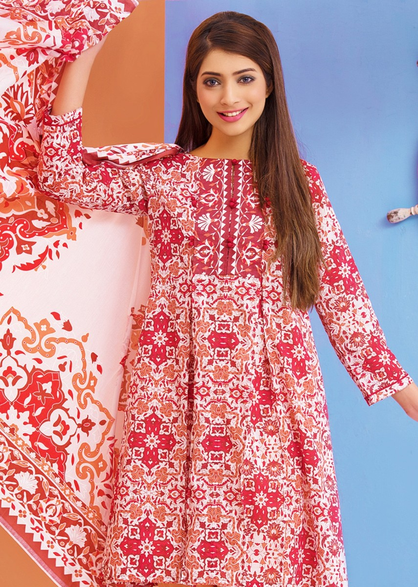 beautiful red unstitched 3 piece lawn suit for summer