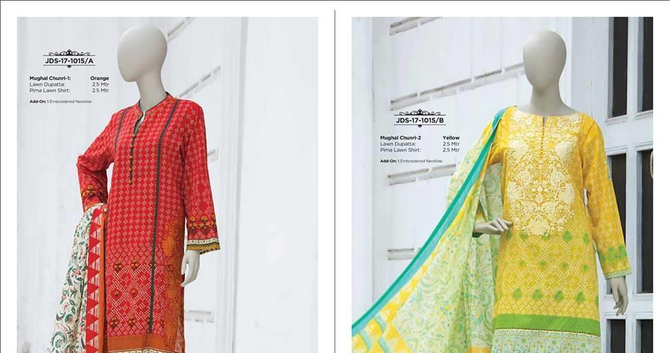 Orange and Yellow J. Mughal Chunri Prima Lawn suit with lawn dupatta