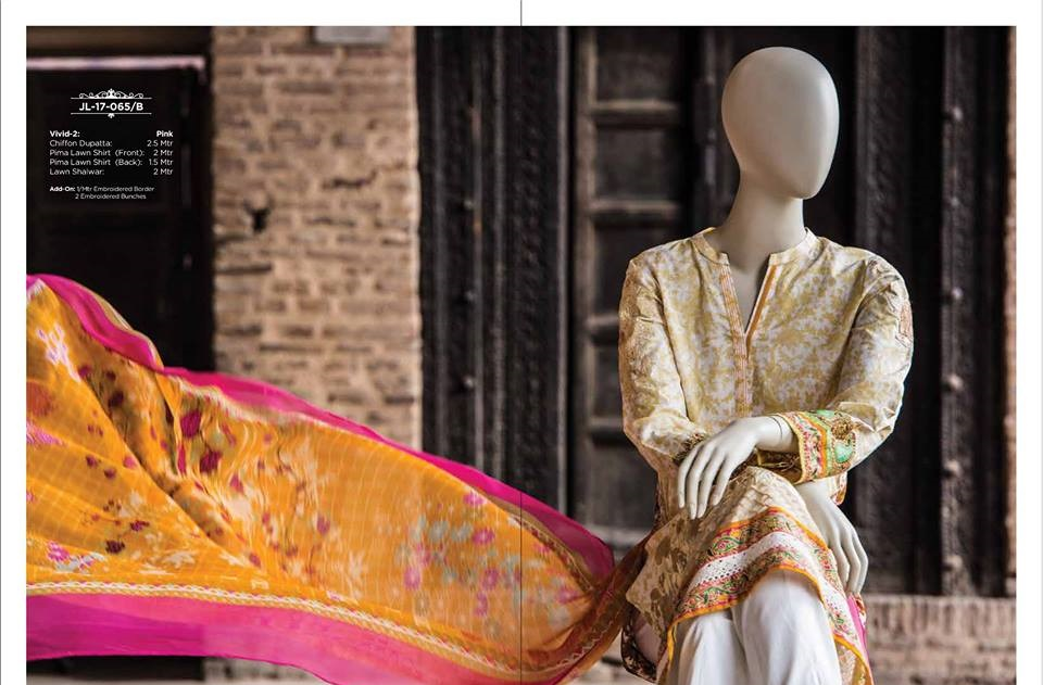 prima lawn orange and pink suit with chiffon dupatta