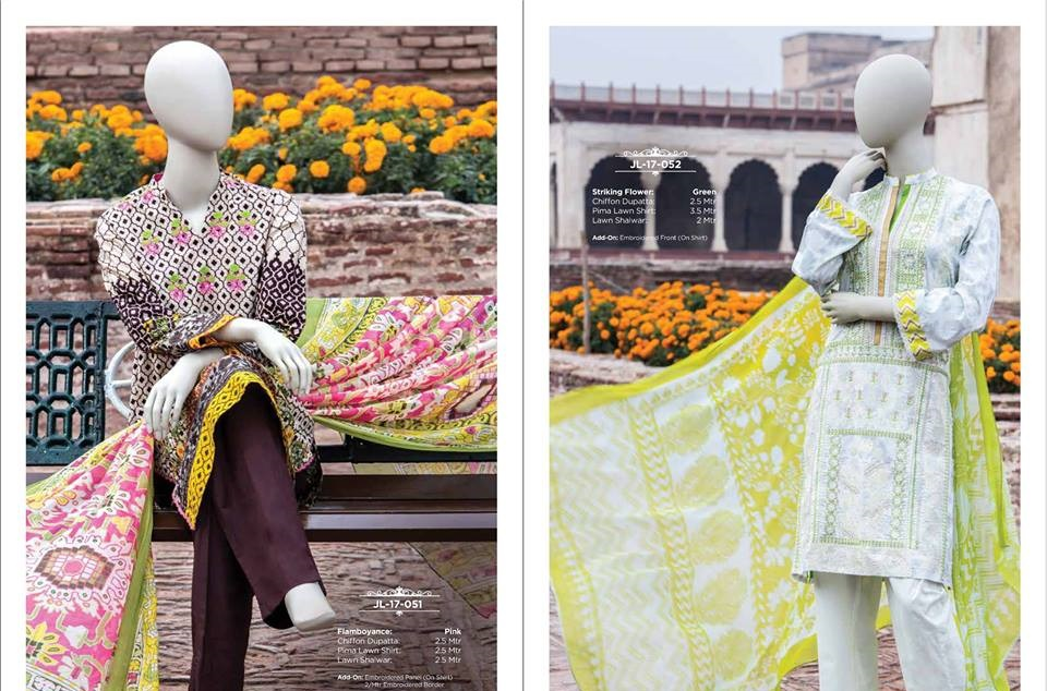 striking flower lawn suit by j. paired with chiffon dupatta