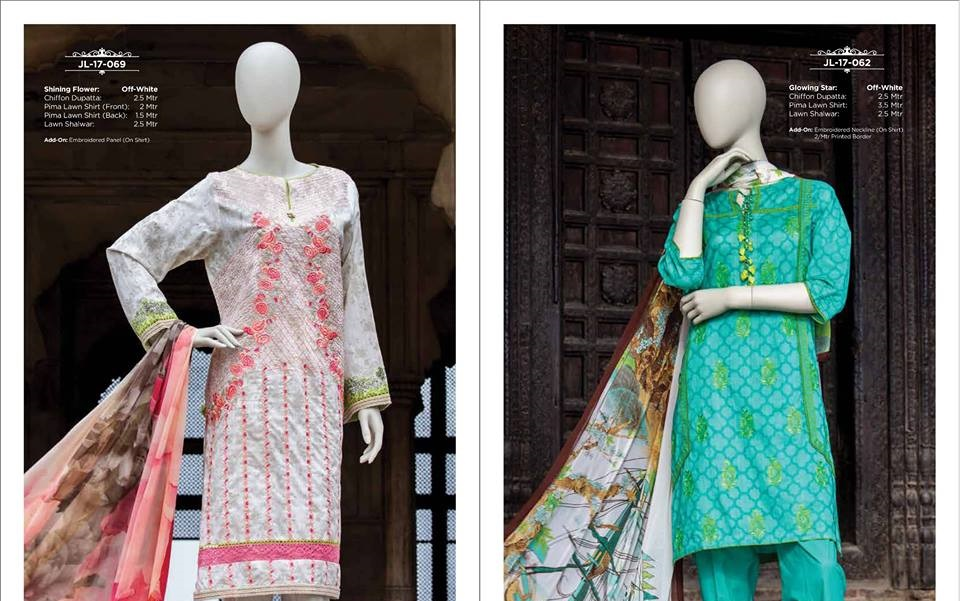 embroidered prima lawn suits by J.