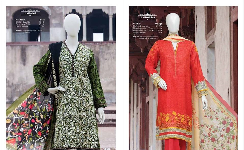 J. mehndi and orange prima lawn suits with chiffon dupatta