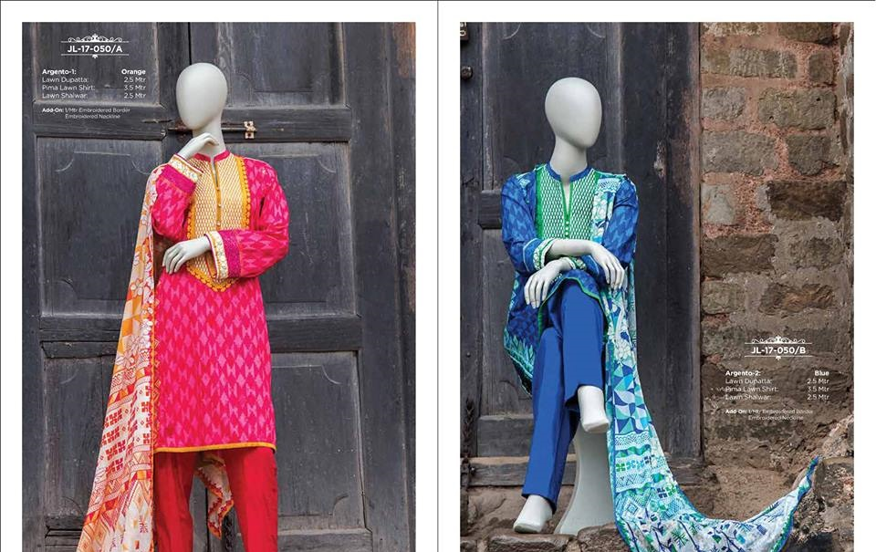 shocking pink and royal blue 3 piece lawn suits with lawn dupatta