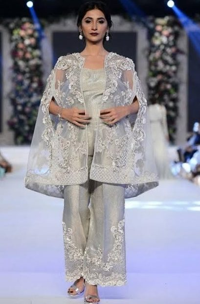 wedding wear organza cape style embroidered dress for brides