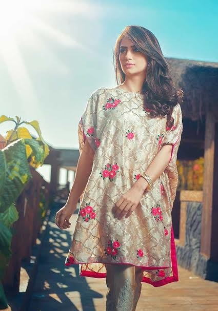 pretty light gold cape style shirt with pink embroidered flowers
