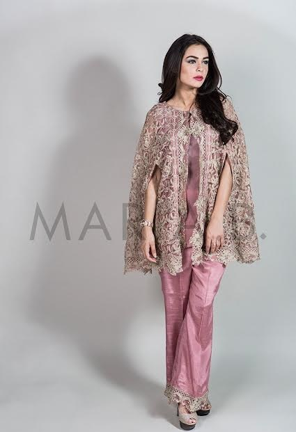 Maria B Embroidered cape style formal party wear top with bell bottoms