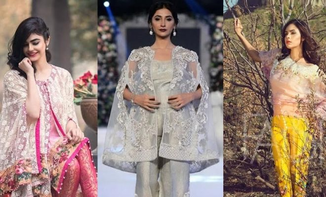 Latest cape style dresses in Pakistan