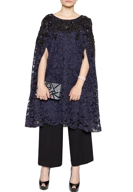 semi formal net cape with self embroidery