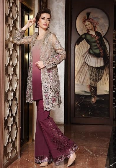 Embroidered coffee peplum with plum bell bottoms