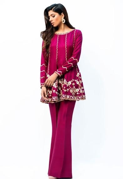 Magenta Peplum frock with plane bell bottom trousers