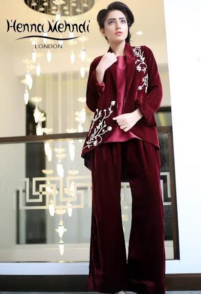 maroon velvet embroidered jacket with velvet bell bottom trouser