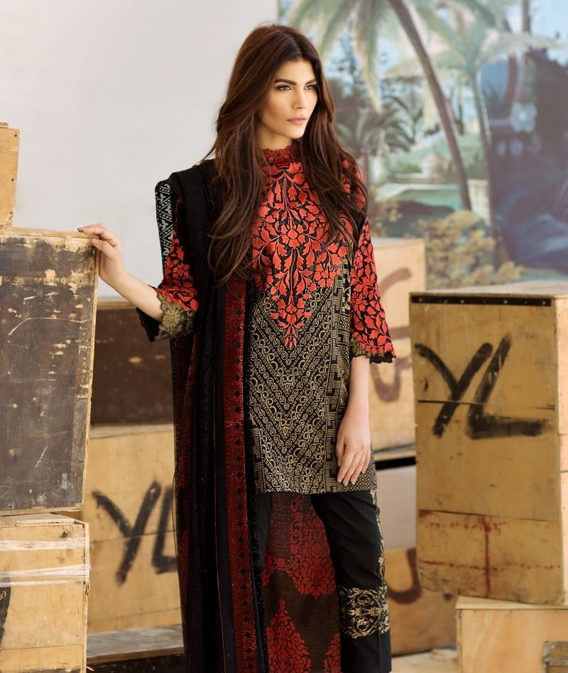 Sana Safinaz black lawn suit with heavy gold print and orange embroidery