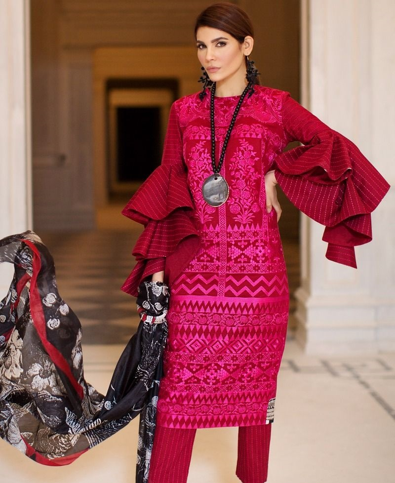 Sana Safinaz Lawn Suit with Tanka Embroidery in Rubi Red color
