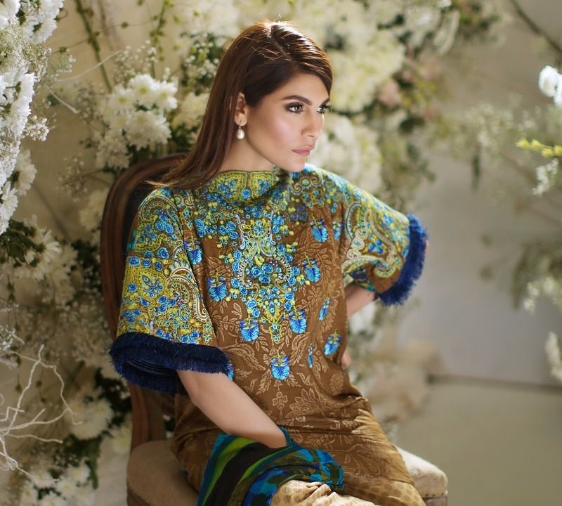 Beige colored gold printed suit with ferozi ethnic Kashmiri Style Embroidery