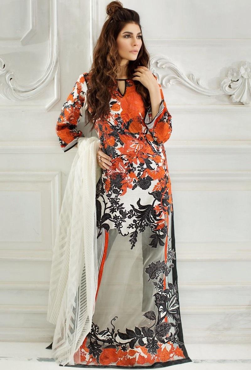 Jacquard orange and black lawn suit with net dupatta by Sana Safinaz
