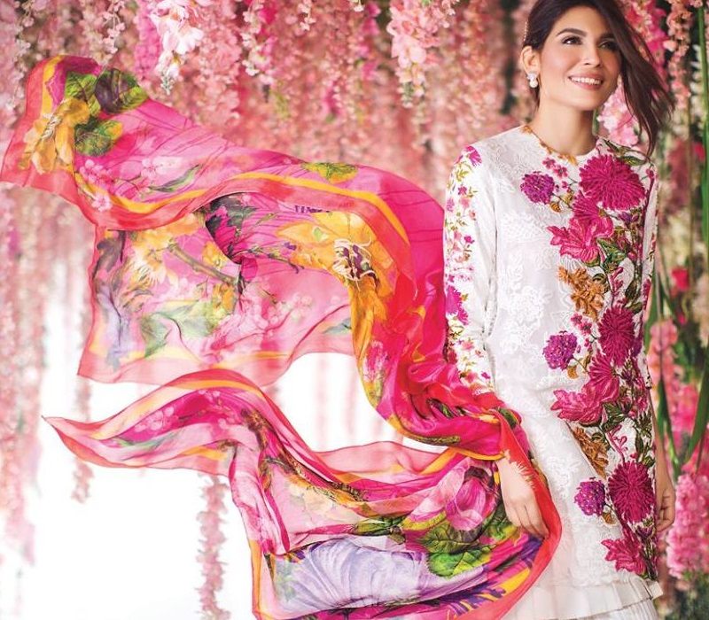Sana Safinaz embroidered shirt with large colorful floral pattern and silk dupatta