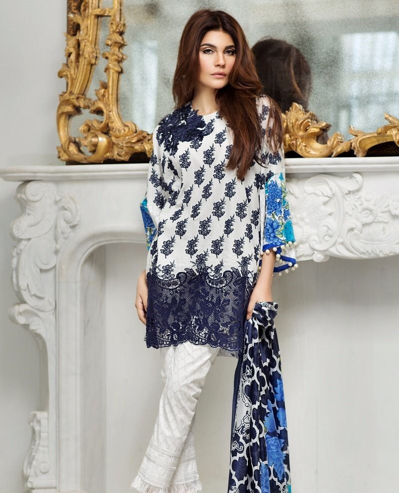 Sana Safinaz navy blue printed white suit with geometric Moroccan design dupatta
