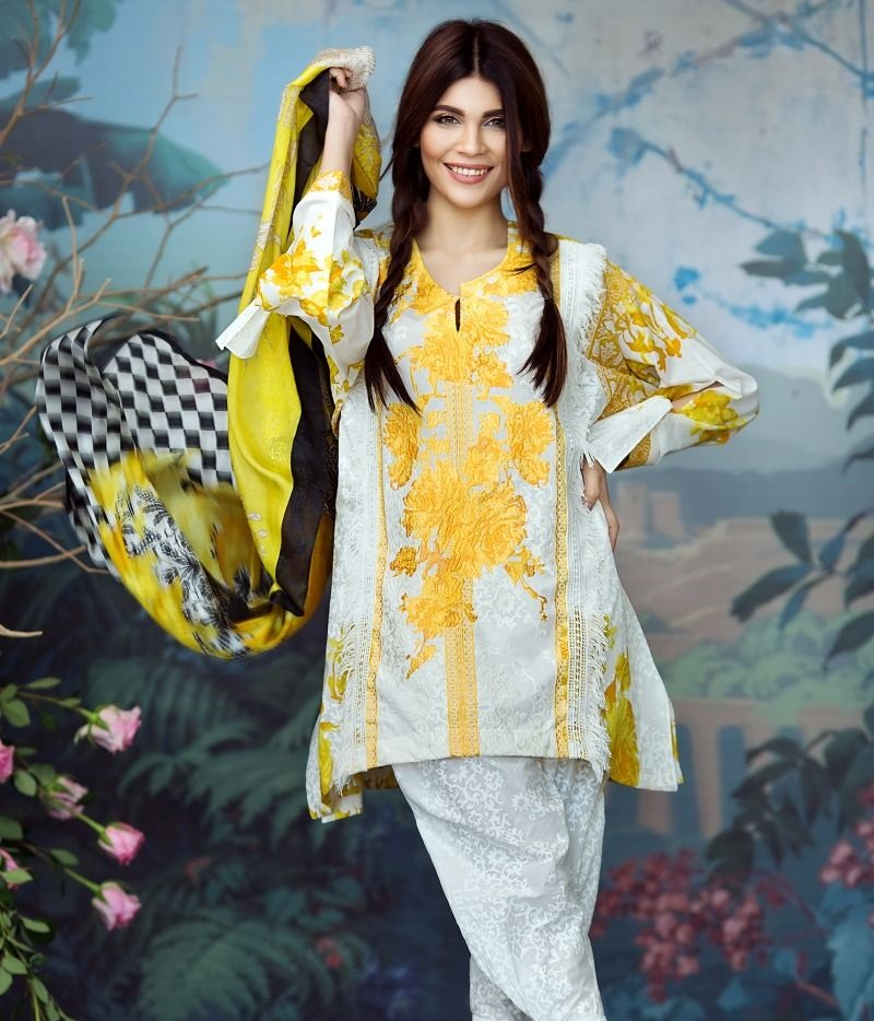 Sana Safinaz dandelion yellow embroidered lawn suit with silk dupatta