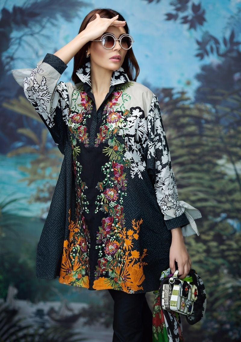 Black embroidered shirt with multicolored silk dupatta