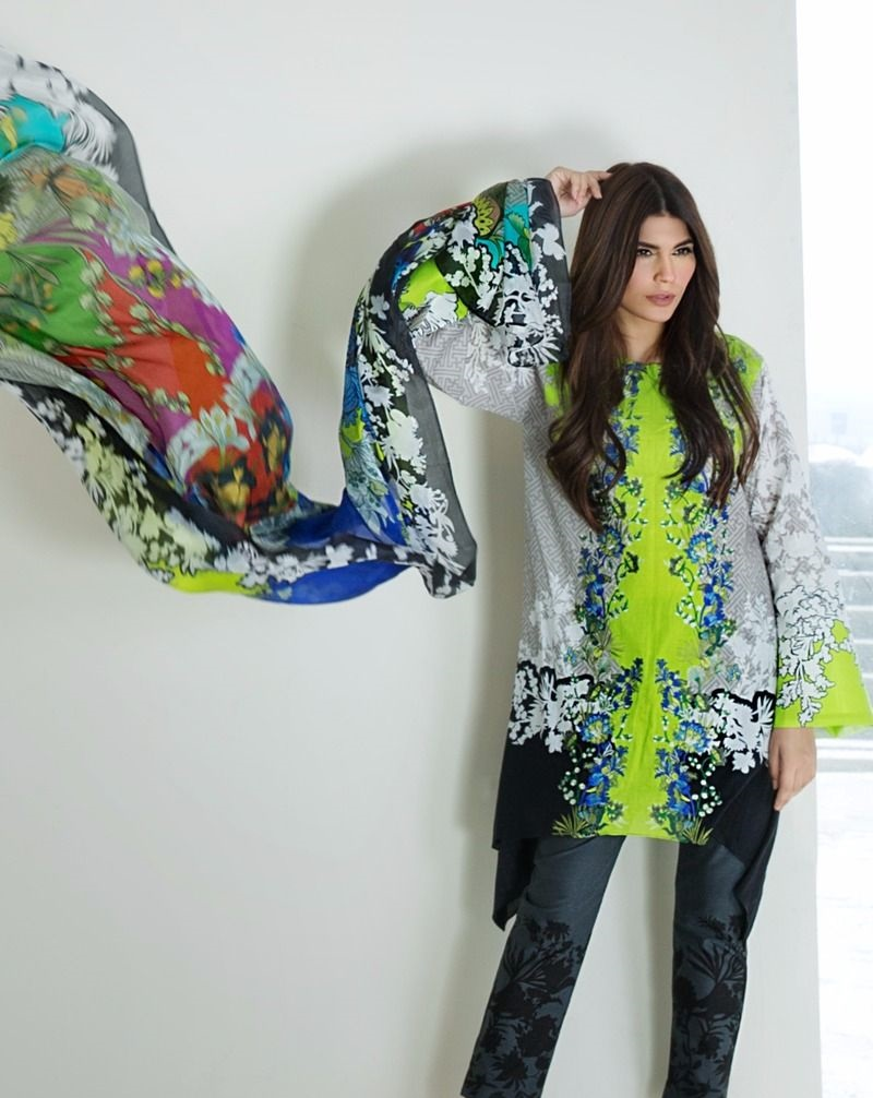 Neon embroidered floral trellis front designed shirt with multi-colored silk dupatta
