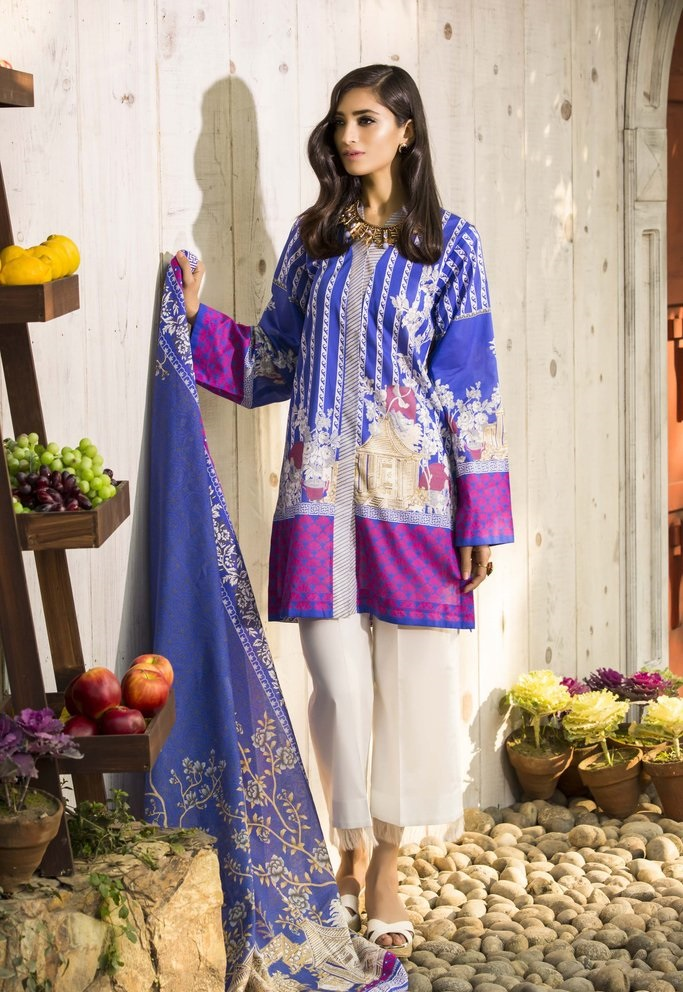 printed lawn blue and purple suit by Sapphire Summer Lawn
