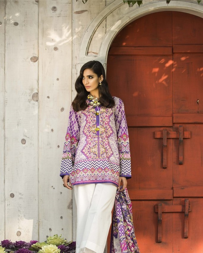 purple printed lawn shirt with Voilde dupatta and cambric trouser