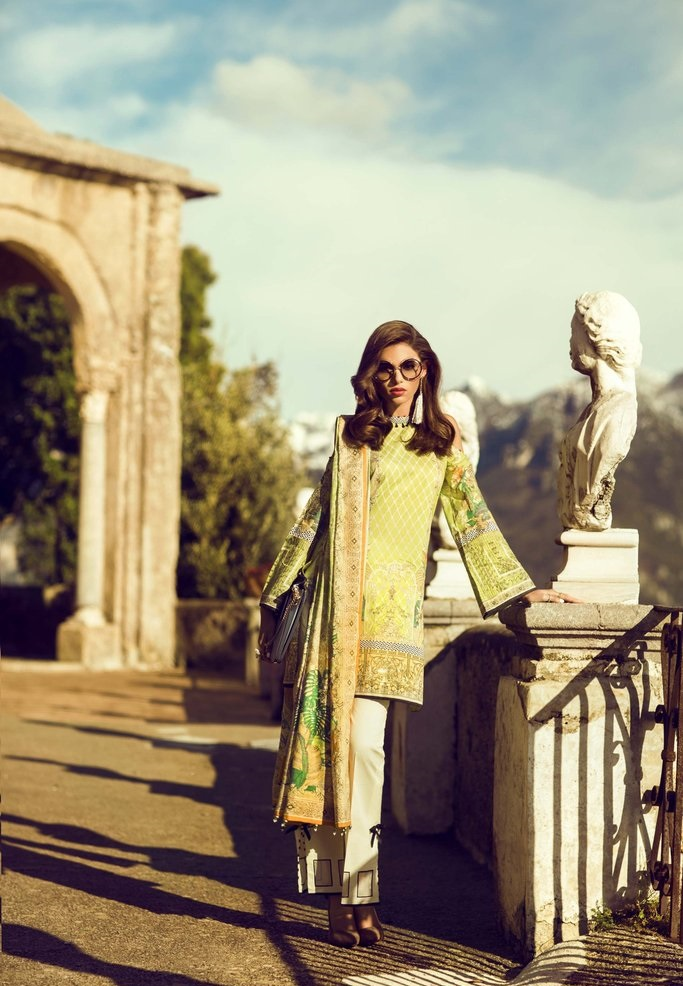 light green printed lawn outfit with Voile dupatta