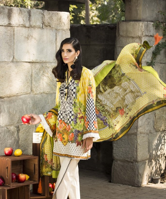 lemon yellow silky lawn 3 piece suit by Sapphire
