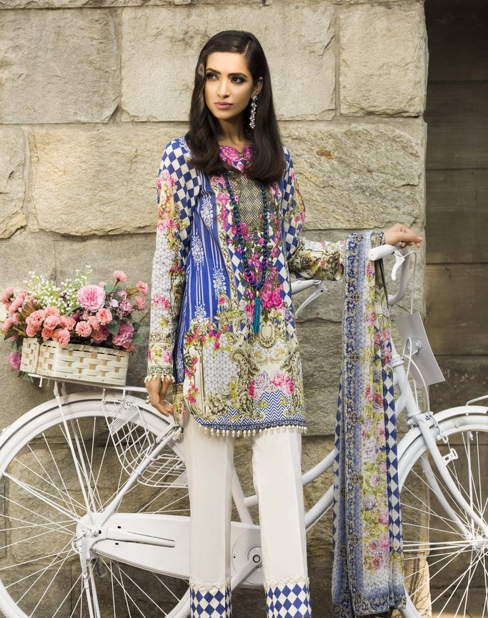 digital printed silky lawn suit in blue and white contrast
