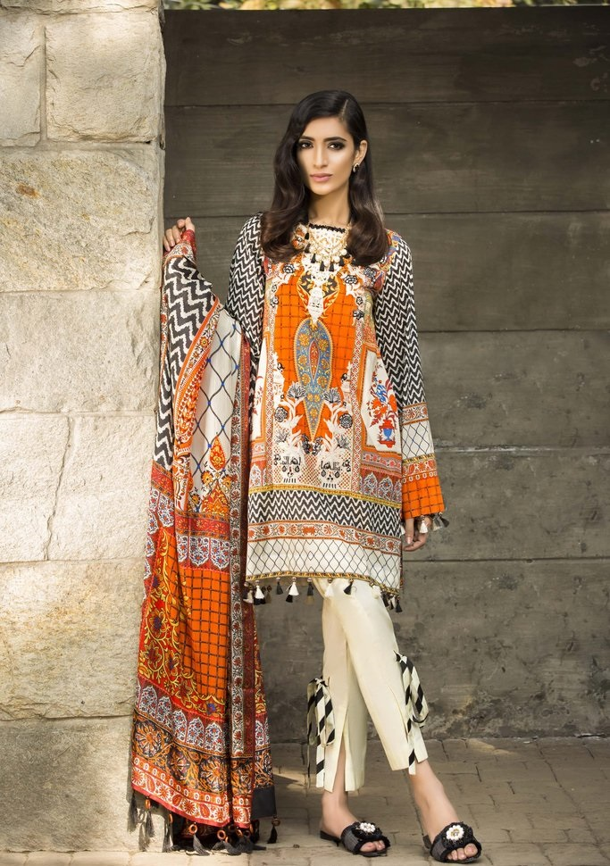orange and off-white zebra print lawn suit by sapphire