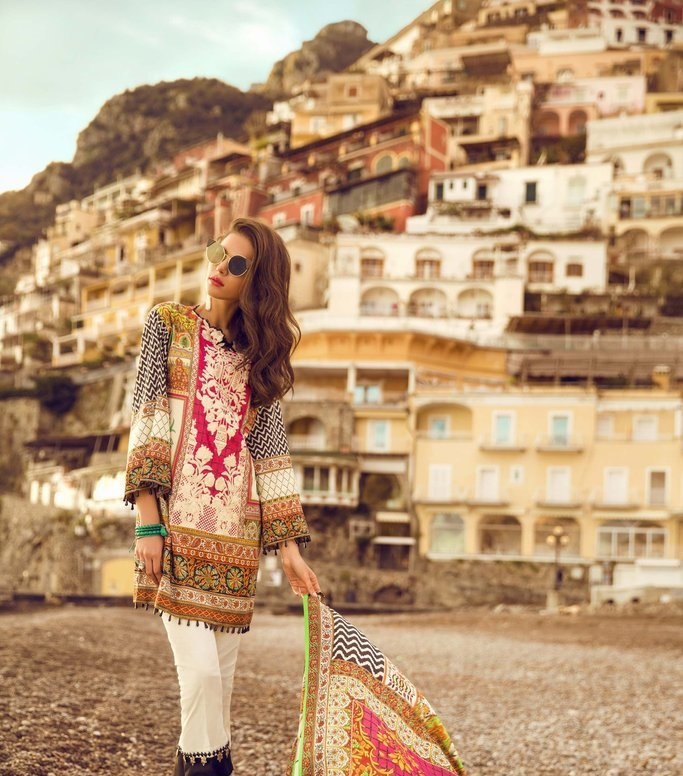 multi-colored bamboo lawn outfit by Sapphire Summer Collection