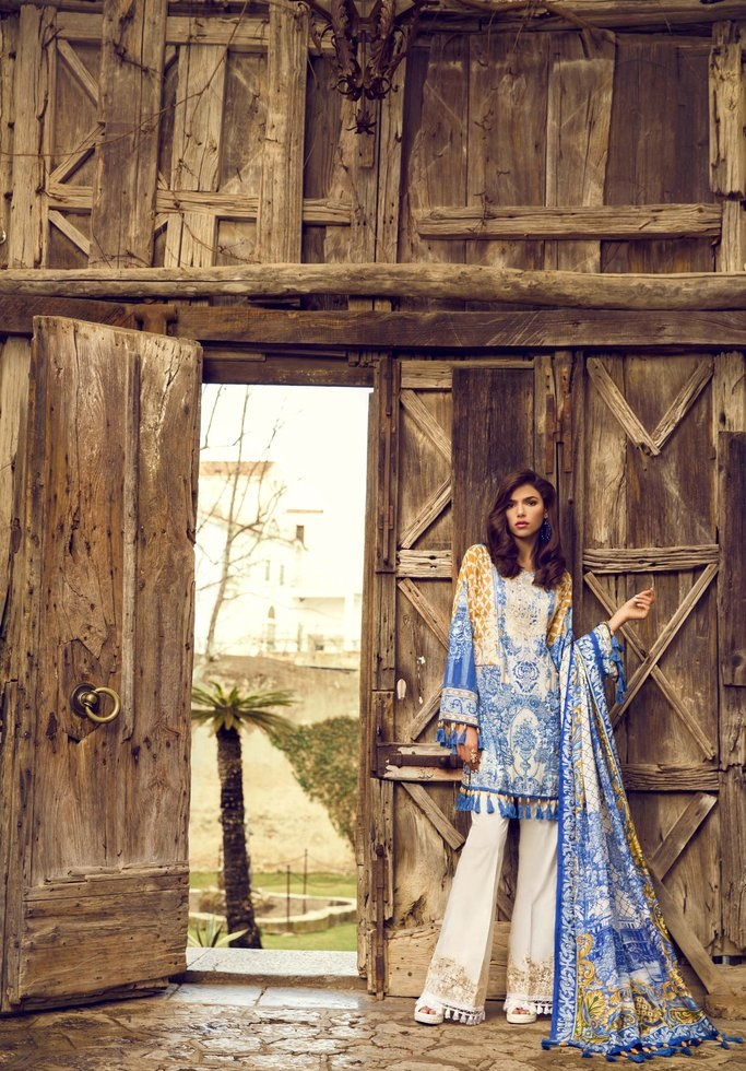 Blue Bamboo lawn shirt with printed silk dupatta and cambric pants by Sapphire
