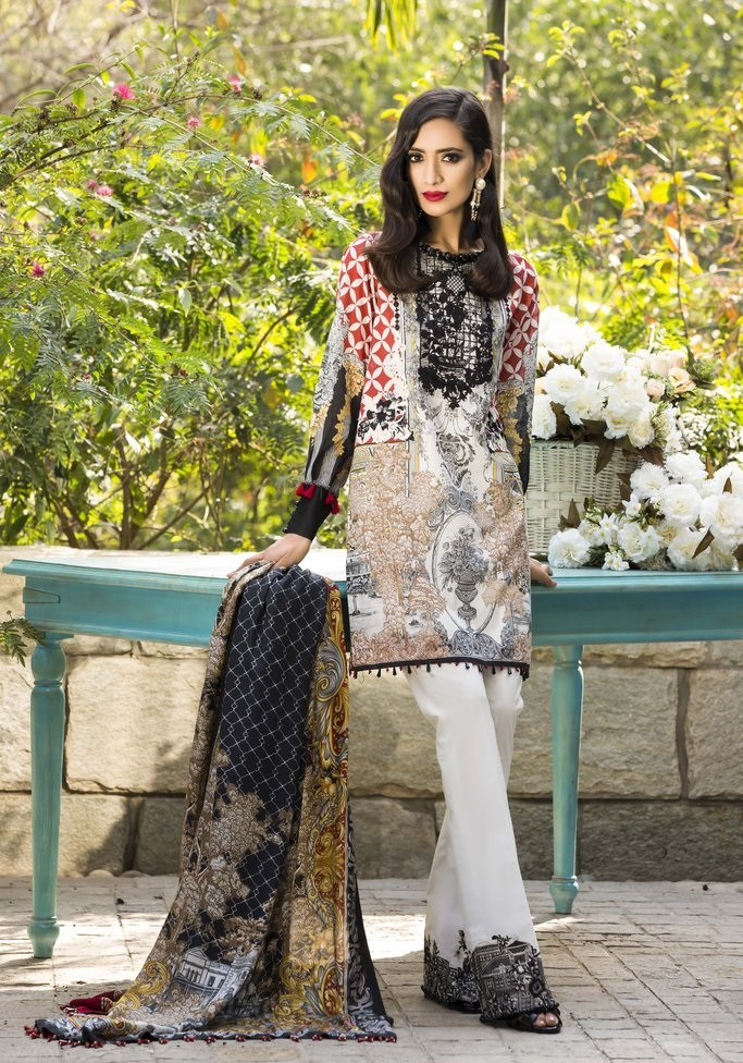 Sapphire bamboo lawn suit with dyed cambric trouser