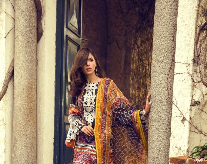 Black printed lawn suit with viscose dupatta in yellow print