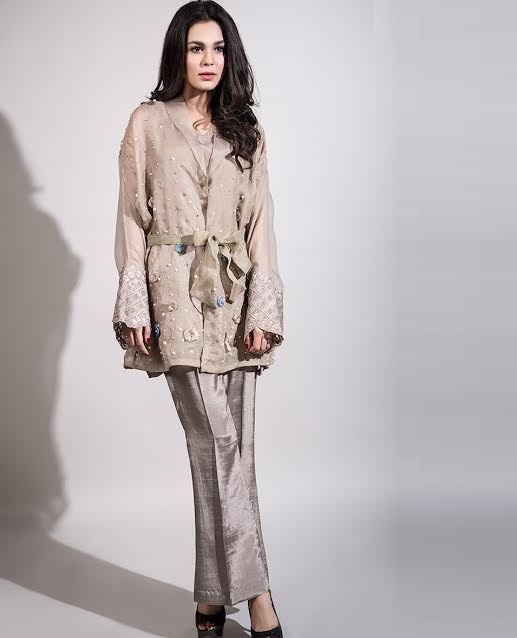 Maria.B Evening Wear front open outfit with Loose Waist Belt